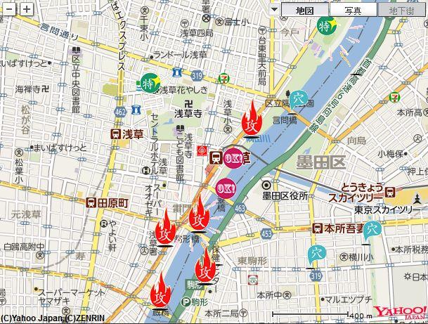隅田川花火大会 会場マップ