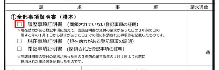 登記簿謄本 履歴事項証明書